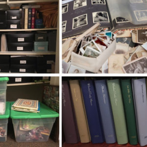 Pictures of photos, albums, and boxes that need organizing