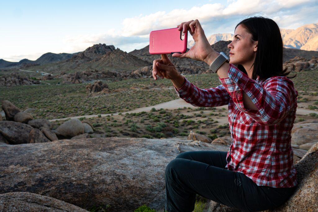 Girl in desert taking a selfie