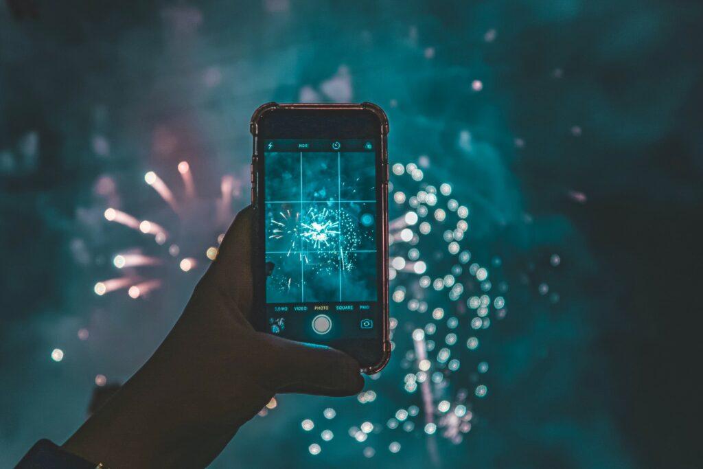 Smart phone showing fireworks